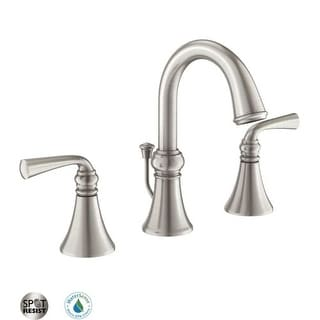 Moen 84855 Widespread Bathroom Faucet With Pop Up Drain Assembly From The  Wetherly Collection