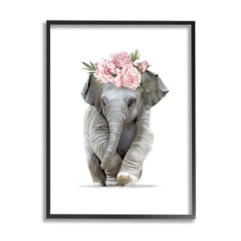 Stupell Industries Precious Rose Crown Baby Elephant Chic Florals Framed Wall Art