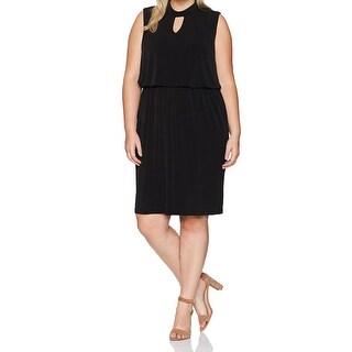 Nine West Black Womens Size 16W Plus Keyhole Blouson Sheath Dress