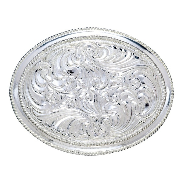Crumrine Western Belt Buckle Womens Scroll Rope Edge Silver - 3 x 4