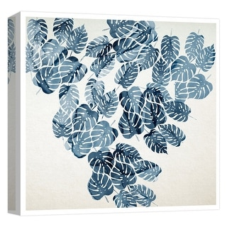 "PTM Images 9-124712  PTM Canvas Collection 12"" x 12"" - ""Aqua Leaves II"" Giclee Leaves Art Print on Canvas"