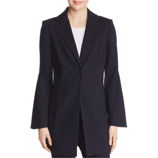 Elie Tahari Womens Athea Flare Sleeve One Button Blazer Jacket, Blue, Large. Opens flyout.