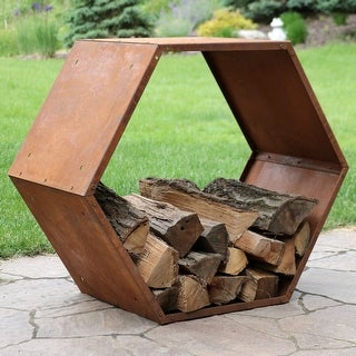 Sunnydaze Heavy-Duty Hexagon Rustic Honeycomb Firewood Log Rack - 30-inch - 1