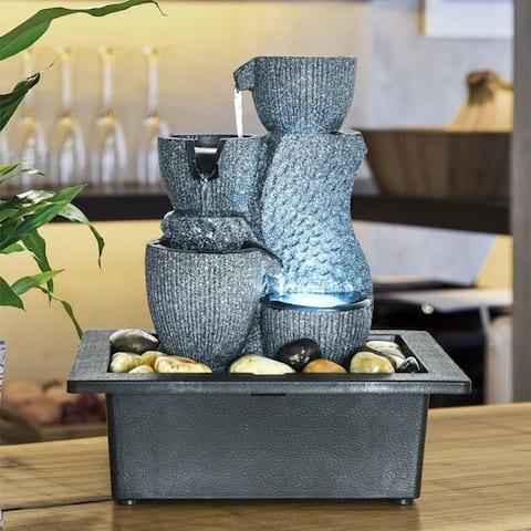 4-Tier Desktop Water Fountain with Submersible Pump Indoor Decoration