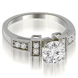 0.65 cttw. 14K White Gold Antique Style Milgrain Round Diamond Engagement Ring
