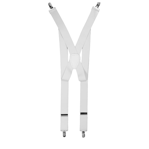 X-back Style Silver Toned Metal Clip-ends Suspenders - One Size Fits most