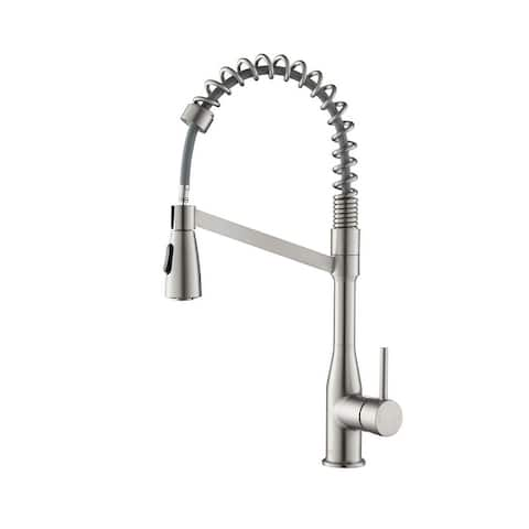 High Arc Pull Out Single Level Lead Free Brass Kitchen Faucet with Sprayer and Magnetic Docking