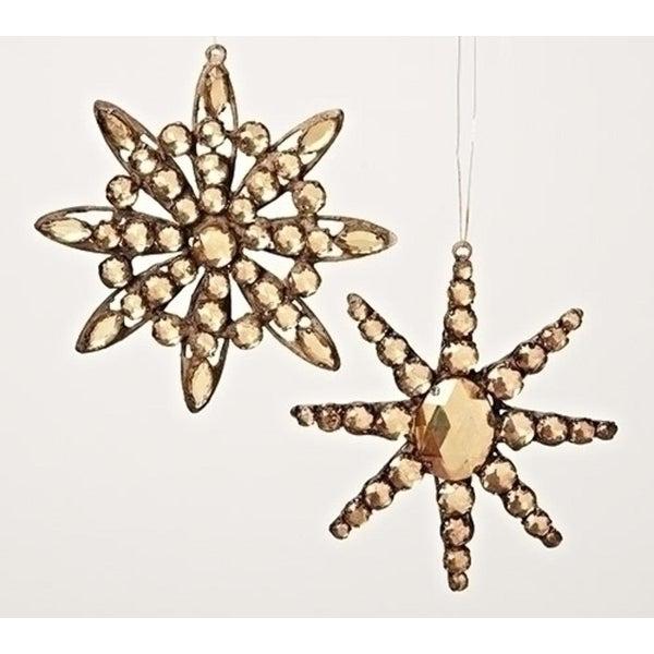 "5.25"" Amber Jeweled Diamond Gem Snowflake Decorative Christmas Ornament"