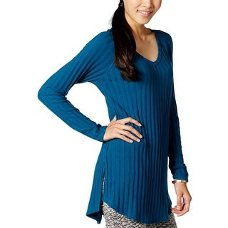 Planet Gold Womens Juniors Tunic Sweater Ribbed Knit V-Neck