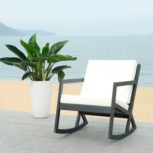 Safavieh Vernon Black Outdoor Rocking Chair w/ White Cushions. Opens flyout.