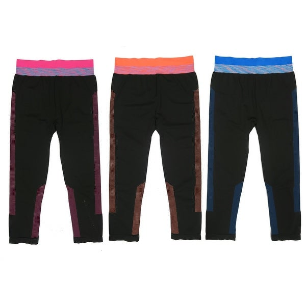 Women 3 Pack Space Dye Matching Padded Athletic Sports Bras or Capris Leggings