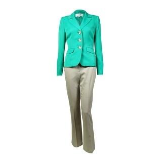 Le Suit Women's Notched Lapel Three Button Pant Suit - kelly green/sand