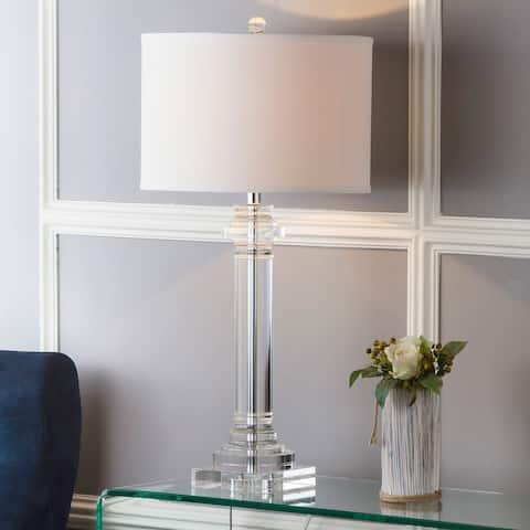 "SAFAVIEH Lighting 30-inch Crystal Nina Crystal Column Lamp - 15"" x 15"" x 30"""