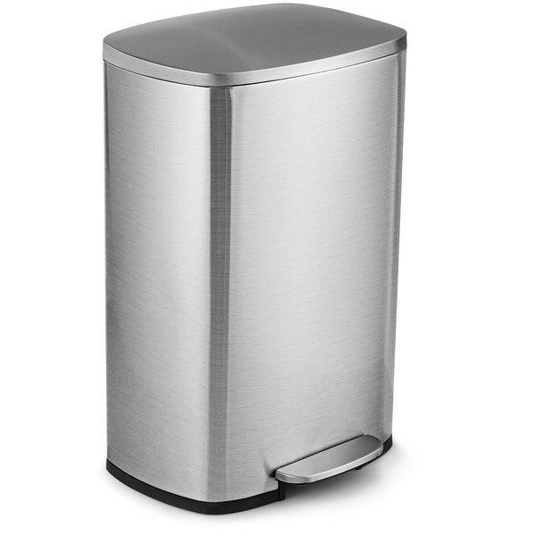 Gymax 13.2 Gallon Trash Garbage Can Stainless Steel Airtight Soft Close Bin W/ Bucket
