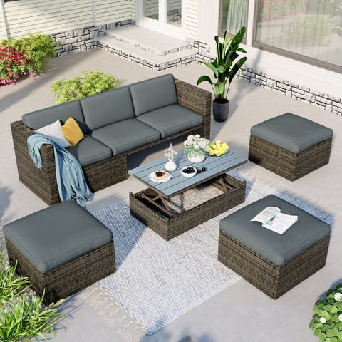 Nestfair Gray 5-Piece Wicker Outdoor Sectional Set with Gray Cushions and Lift Top Coffee Table