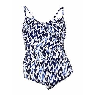 Swim Solutions Women's Coastal Ikat Ruched Swimsuit (20, Multi)