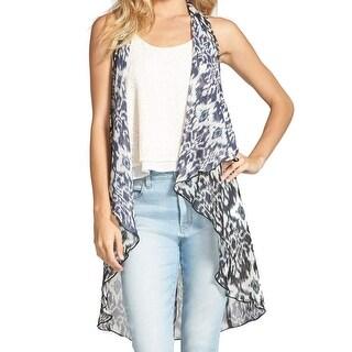 Living Doll NEW Gray Size Medium M Junior Abstract Sheer Vest Sweater