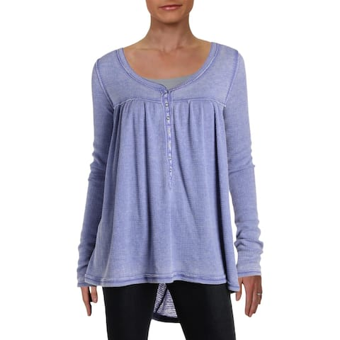 We The Free Womens Kai Henley Top Textured Long Sleeves