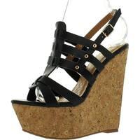 De Blossom Collection Plum-15 Women's Strappy Platform Wedge Sandals