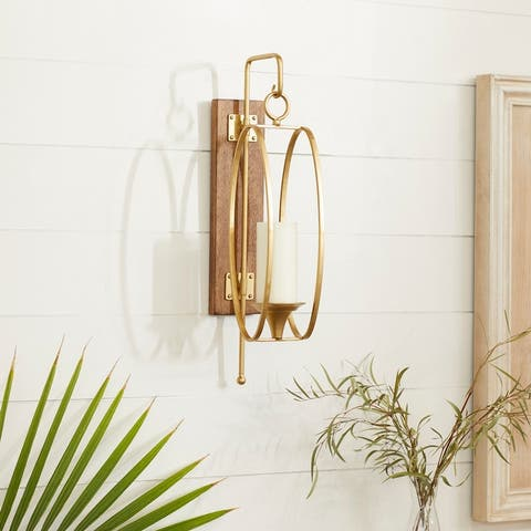 Glam Gold Metal and Wood Wall Sconce, 24 x 6 x 8 - Brown - 6 x 8 x 24