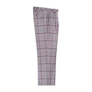 Black and Cream Houndstooth Plaid Wide Leg Dress Pants Pure Wool by Tiglio Luxe (Option: 50 Inch)