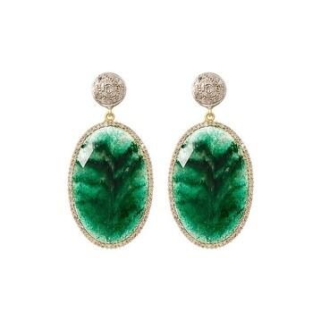 Genuine Diamond and Emerald Earring