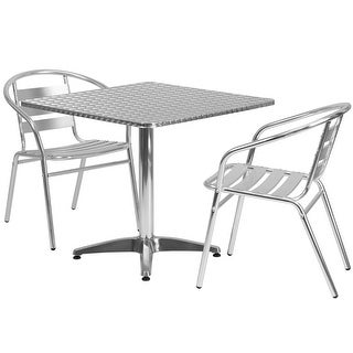 """Offex 31.5"""" Square Aluminum Indoor-Outdoor Table With 2 Slat Back Chairs"""