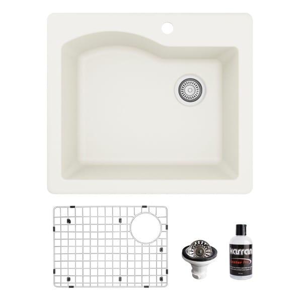 Karran Drop-In Quartz Composite 25 in. Single Bowl Kitchen Sink Kit. Opens flyout.