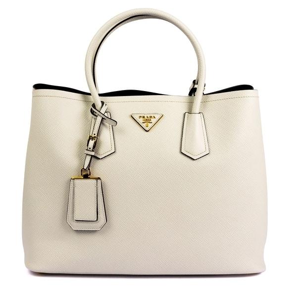 Prada Saffiano Leather Tote Handbag Talco
