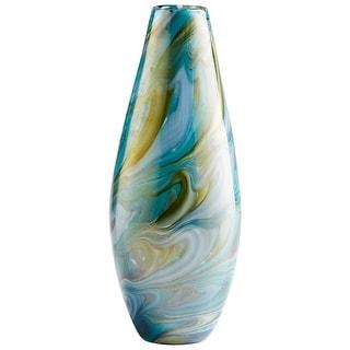 "Cyan Design 09501  Chalcedony 4-3/4"" Diameter Glass Vase - Blue Gold Swirl"