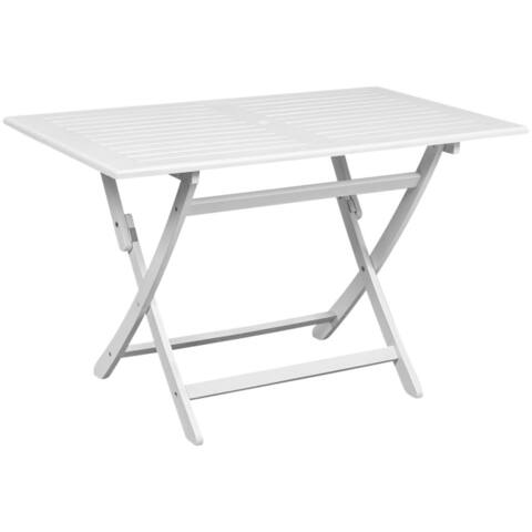 "Patio 47"" Rectangular Dining Table Outdoor Garden Furniture Acacia Wood White"