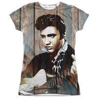 Elvis Presley Woodgrain (Front Back Print) Juniors Sublimation Shirt