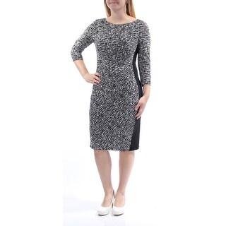 Womens Black White Printed 3/4 Sleeve Knee Length Sheath Dress Size: 6