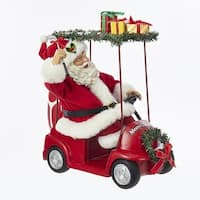 "11.25"" Santa Claus Driving Golf Cart Christmas Table Top Figurine - White"