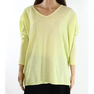 Joan Vass NEW Yellow Womens Size 0 High Low Hem Scoop Neck Knit Top
