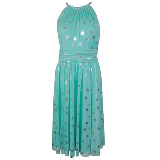 Jessica Howard Women's Halter Metallic Polka Dot Dress - 14