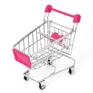 Mini Shopping Cart Hand Trolly Toy Desktop Storage Container Fuchsia