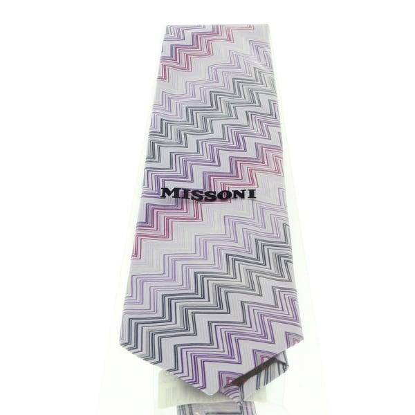 Missoni U4312 Purple//Silver Chevron 100/% Silk Tie for mens