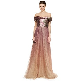 Rene Ruiz Tiered Off Shoulder Metallic Ombre Evening Ball Gown Dress