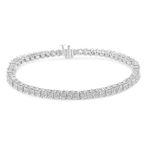 ".925 Sterling Silver & 10K Gold 1.0 Cttw Diamond Square Frame Tennis Bracelet (I-J, I3) - Choice of Metal Color, 7"" or 8"" Long"