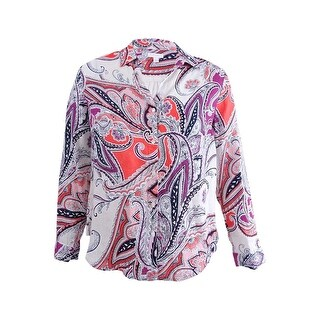 Charter Club Women's Linen Roll-Tab Printed Shirt (L, Modern Coral Combo) - modern coral combo - l