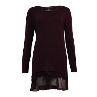 Style & Co Women's Chiffon Lace Trim Tiered Blouse - m