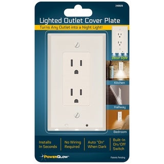 Powerglow Wall Outlet Plate 3 LED Night Light On/Off Switch White Decor - 240026