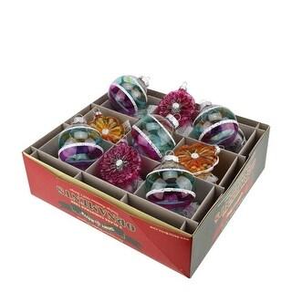 "9ct Christopher Radko Shiny Brite Vintage Celebration Flowers & Glass Ball Christmas Ornaments 2.5"""