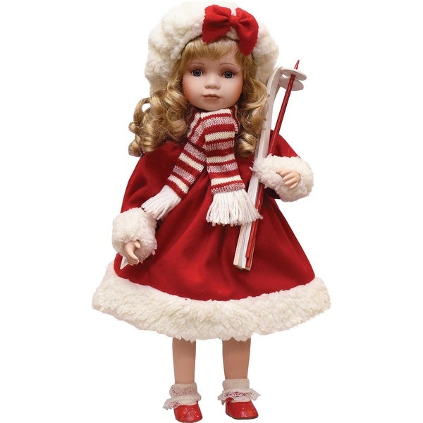 """17.5"""" Porcelain """"Dina"""" Holding Skis Standing Collectible Christmas Doll"""