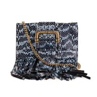 Roberto Cavalli Blue Black Snake Embossed Leather Fringe Shoulder Bag