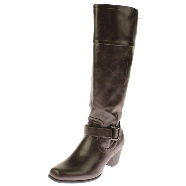 Andrew Geller Womens Haela Riding Boots Faux Leather Knee-High