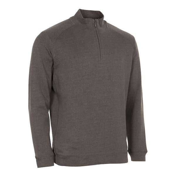 KIRKLAND Signature Cotton Quarter Zip Pullover Sweatshirt Brown Heather