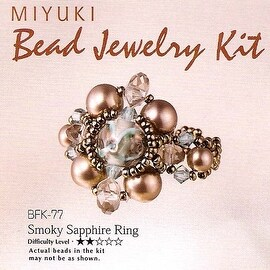 Create Your Own Miyuki Beaded Ring Kit - Grey Blue Size 6.5