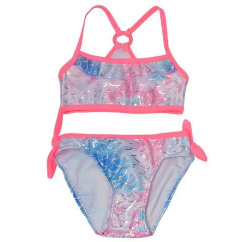 Real Love Little Girls Coral Mermaid Scale 2 Pc Bandeau Bikini Swimsuit